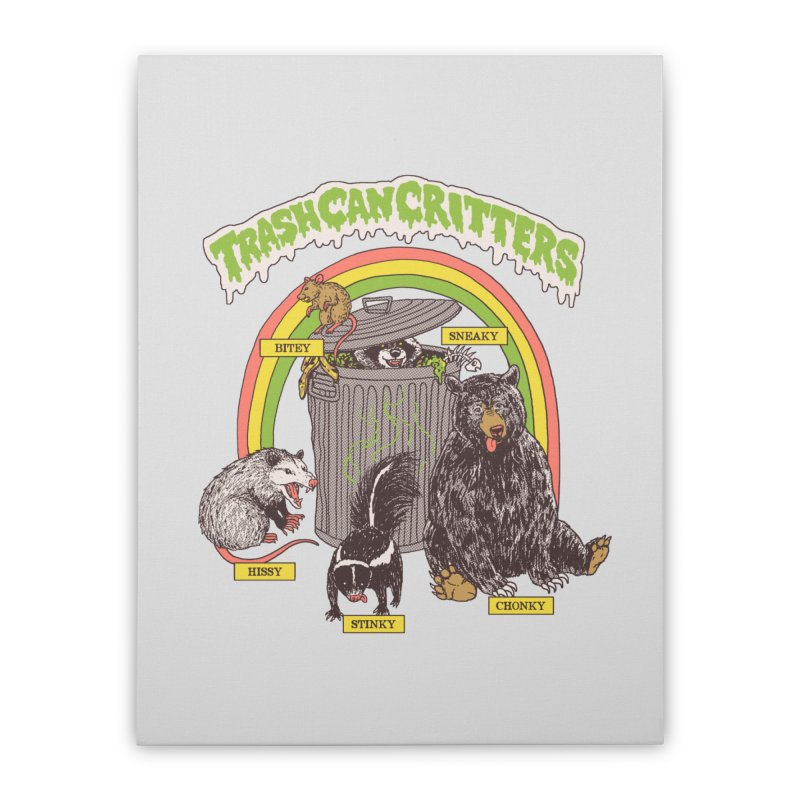 Trash Can Critters Home Stretched Canvas by Hillary White