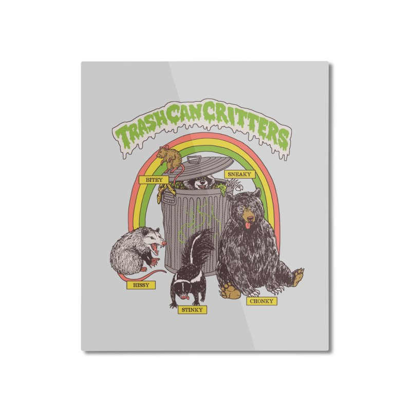 Trash Can Critters Home Mounted Aluminum Print by Hillary White
