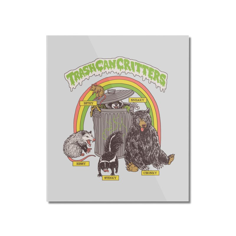 Trash Can Critters Home Mounted Acrylic Print by Hillary White