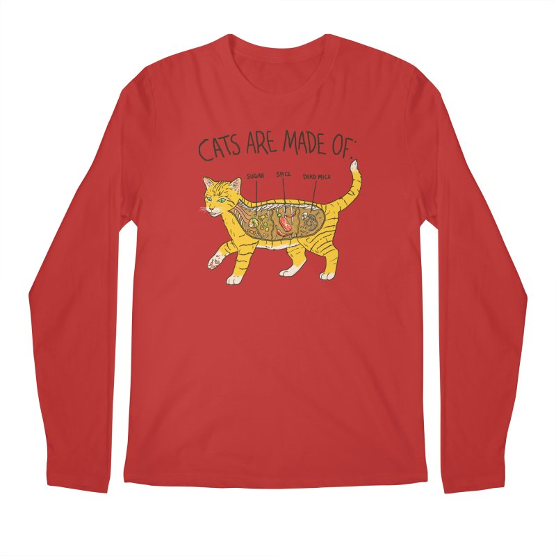 Cat Anatomy Men's Regular Longsleeve T-Shirt by Hillary White