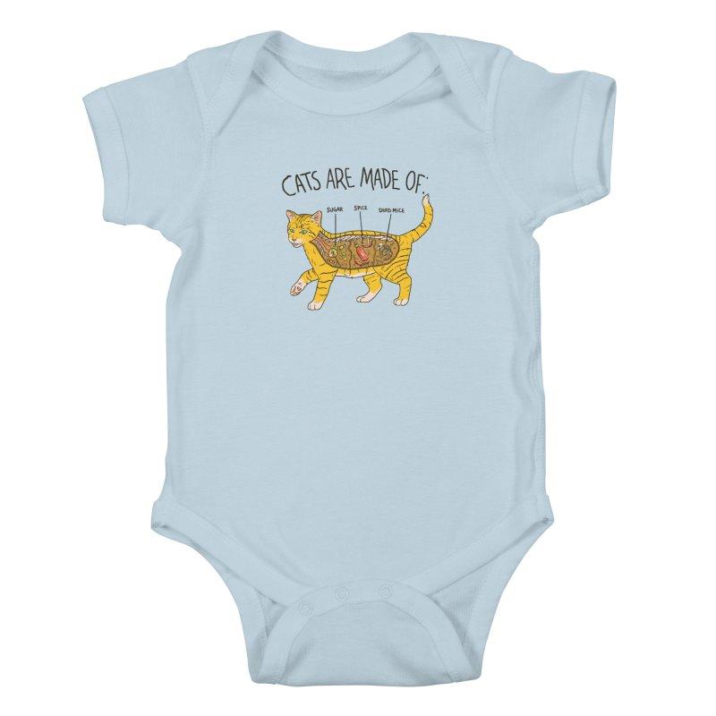 Cat Anatomy Kids Baby Bodysuit by Hillary White
