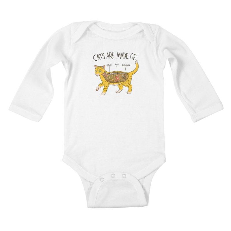 Cat Anatomy Kids Baby Longsleeve Bodysuit by Hillary White