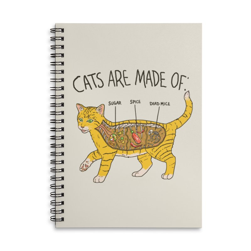 Cat Anatomy Accessories Lined Spiral Notebook by Hillary White