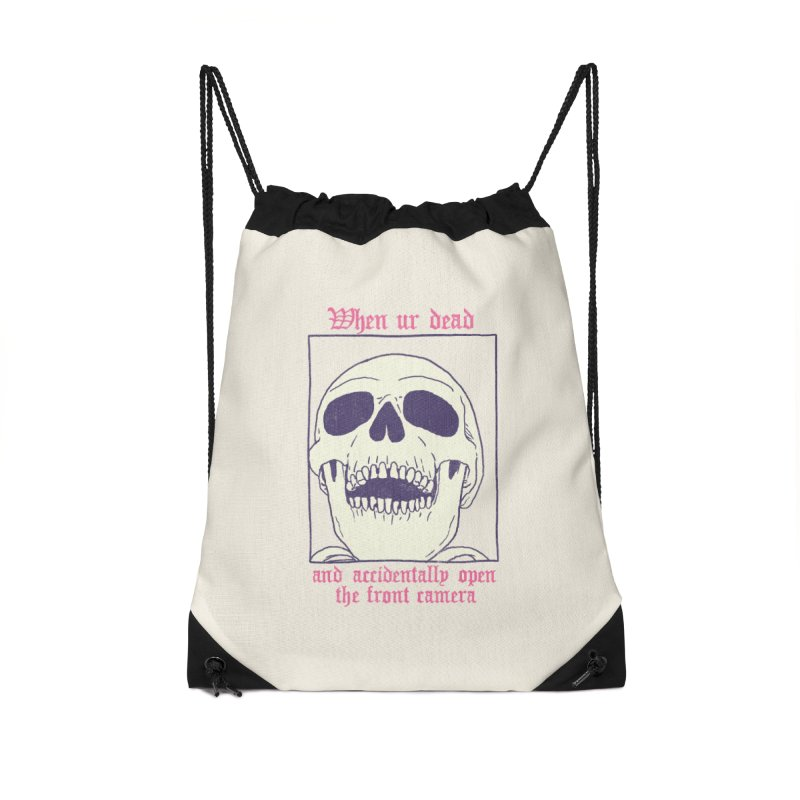 AcciDEADtal Selfie Accessories Drawstring Bag Bag by Hillary White