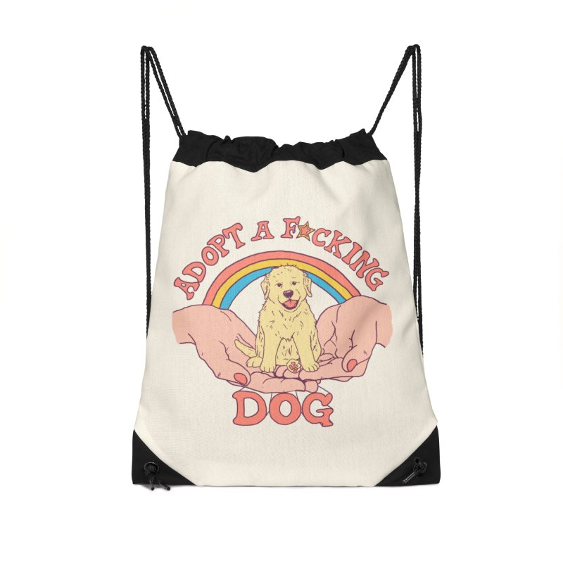 Adopt A F*cking Dog Accessories Drawstring Bag Bag by Hillary White
