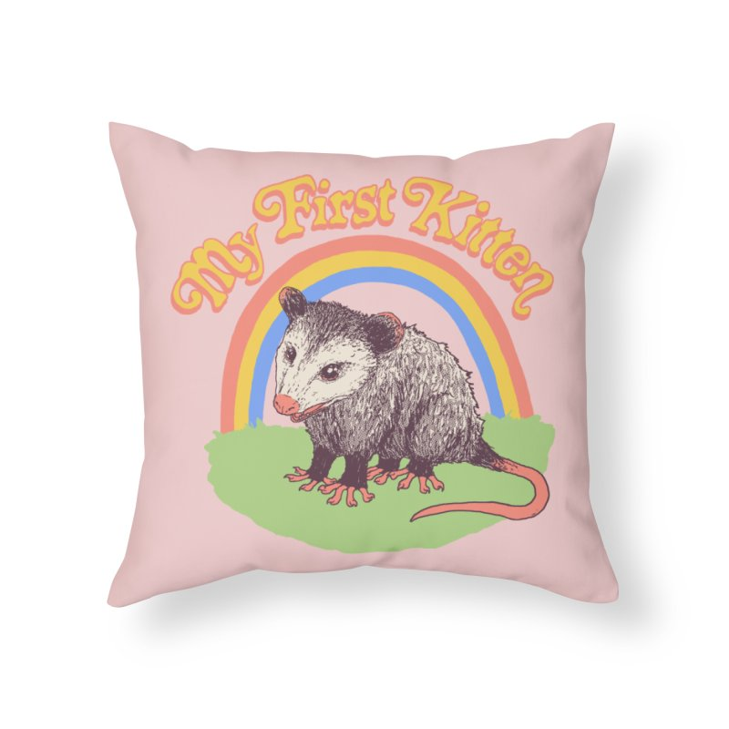 My First Kitten Home Throw Pillow by Hillary White
