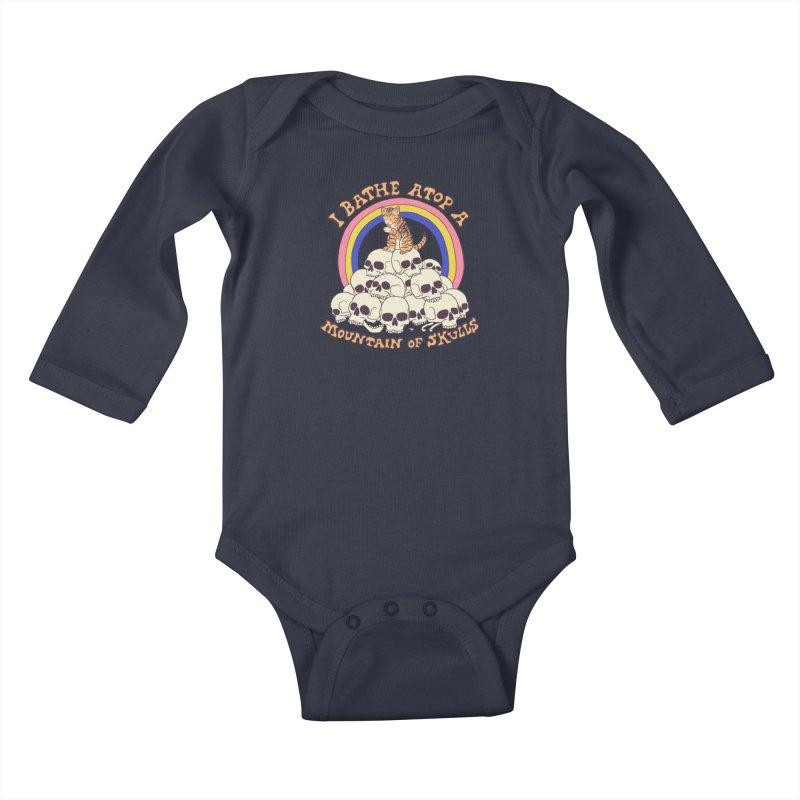 Bathe Atop A Mountain Of Skulls Kids Baby Longsleeve Bodysuit by Hillary White