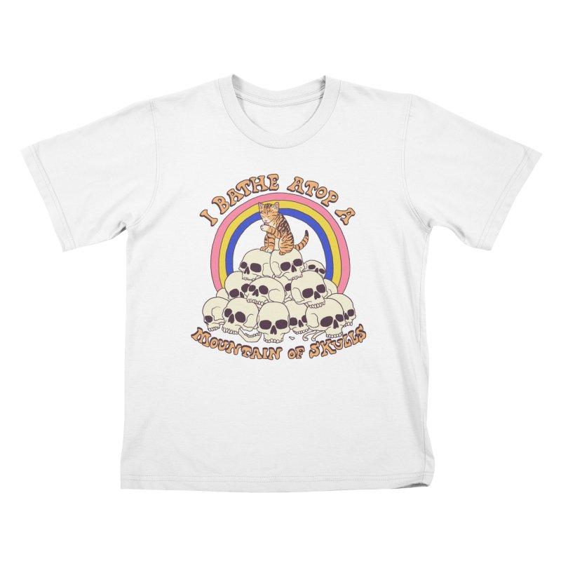 Bathe Atop A Mountain Of Skulls Kids T-Shirt by Hillary White