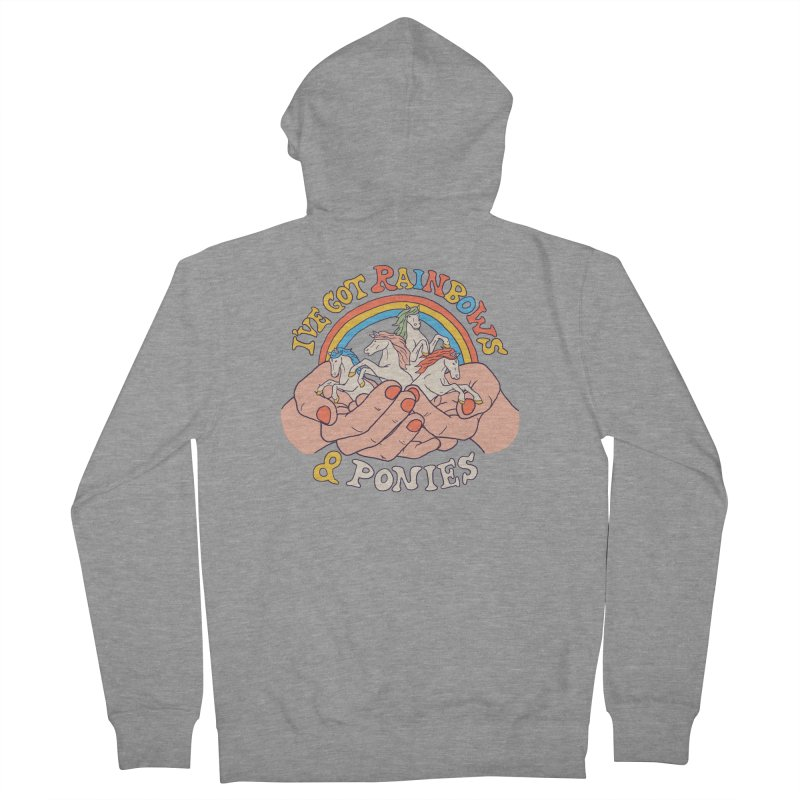 I've Got Rainbows And Ponies Men's French Terry Zip-Up Hoody by Hillary White