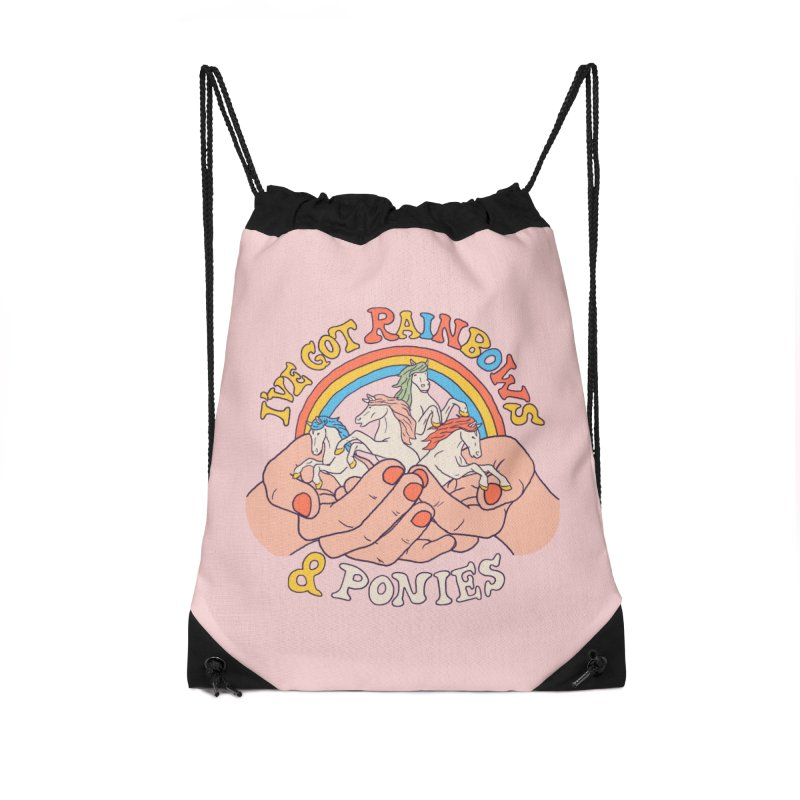 I've Got Rainbows And Ponies Accessories Drawstring Bag Bag by Hillary White