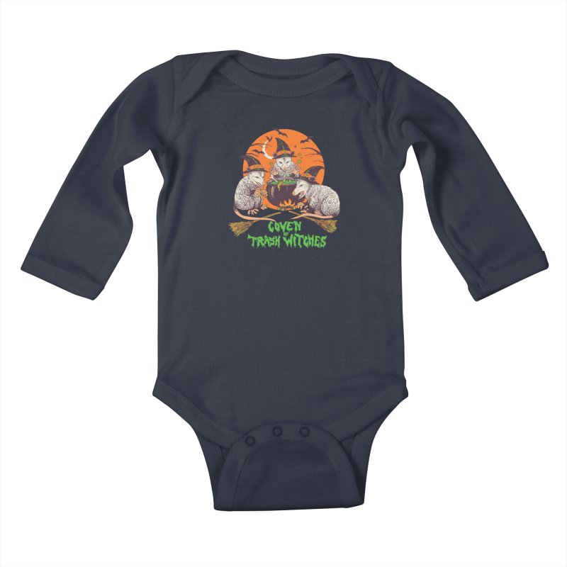 Coven Of Trash Witches Kids Baby Longsleeve Bodysuit by Hillary White Rabbit