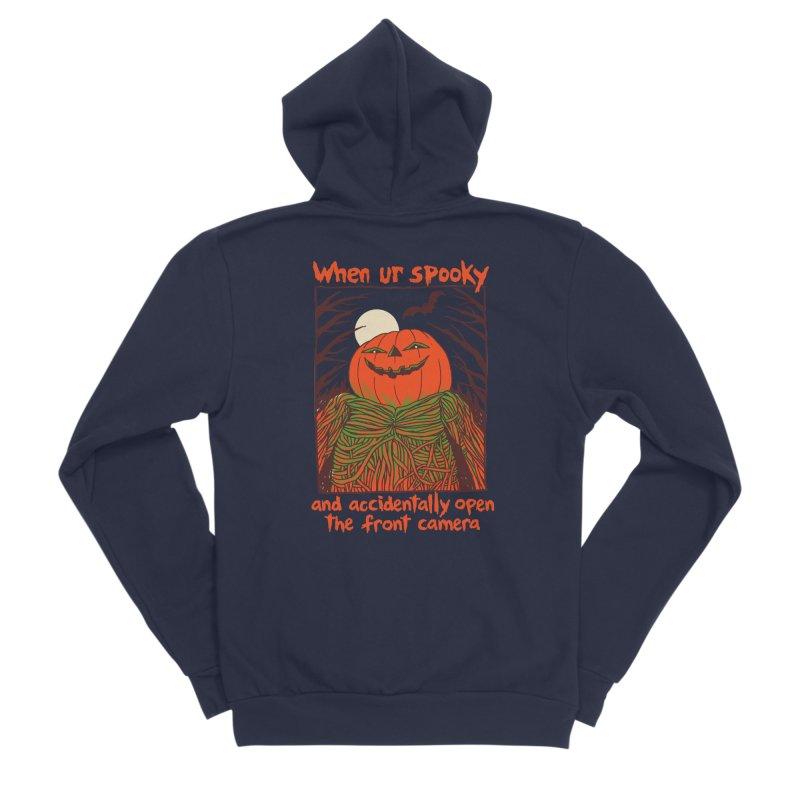 Spooky Selfie Men's Sponge Fleece Zip-Up Hoody by Hillary White