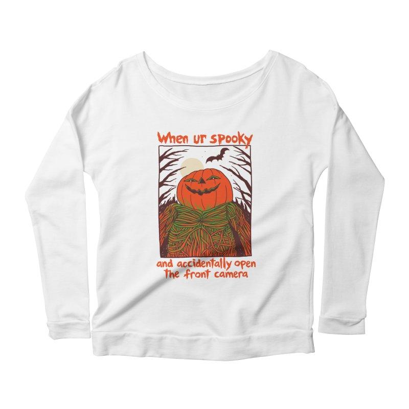 Spooky Selfie Women's Scoop Neck Longsleeve T-Shirt by Hillary White