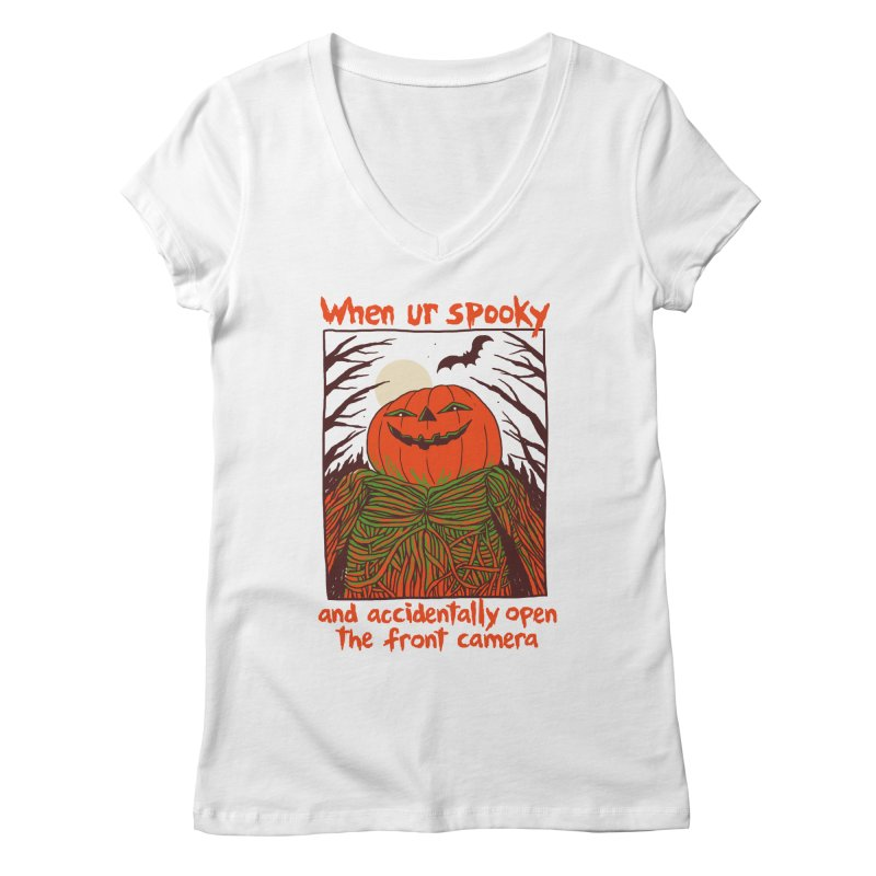 Spooky Selfie Women's Regular V-Neck by Hillary White