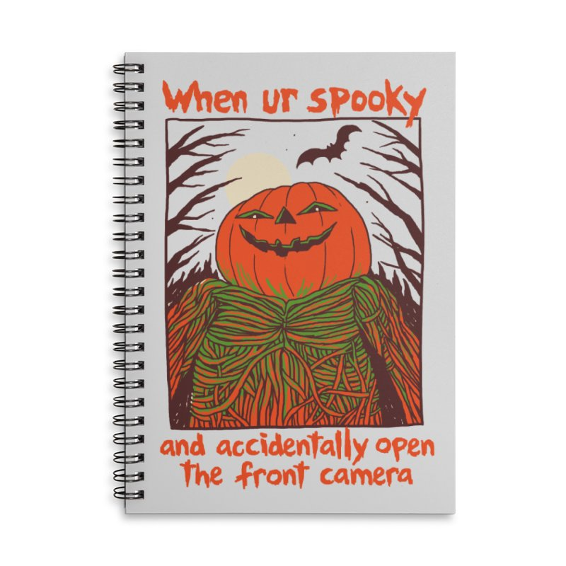 Spooky Selfie Accessories Lined Spiral Notebook by Hillary White