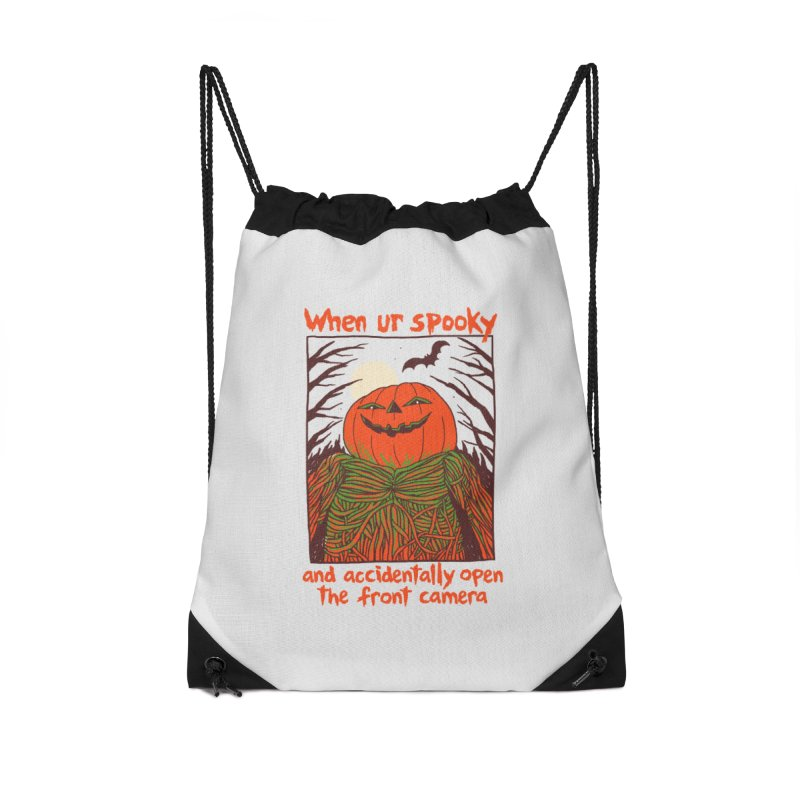 Spooky Selfie Accessories Drawstring Bag Bag by Hillary White
