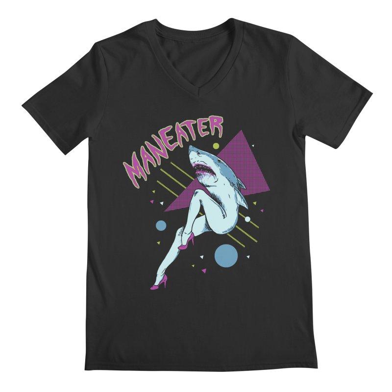 Maneater Men's Regular V-Neck by Hillary White