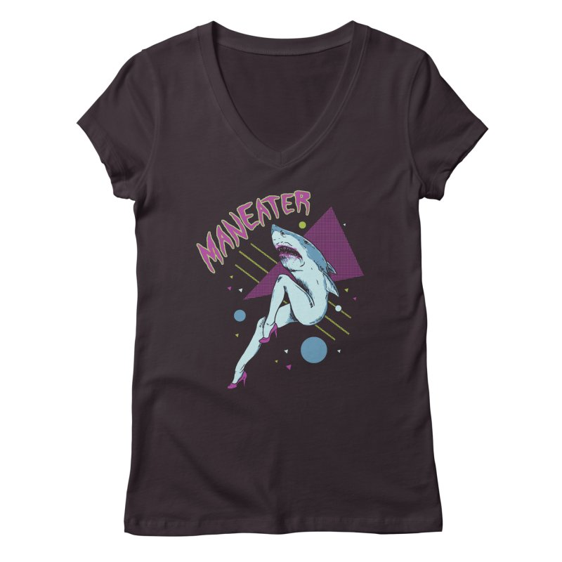 Maneater Women's Regular V-Neck by Hillary White