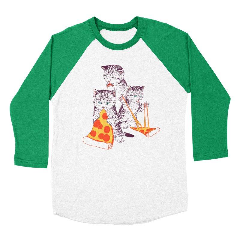 Pizza Kittens Women's Baseball Triblend Longsleeve T-Shirt by Hillary White