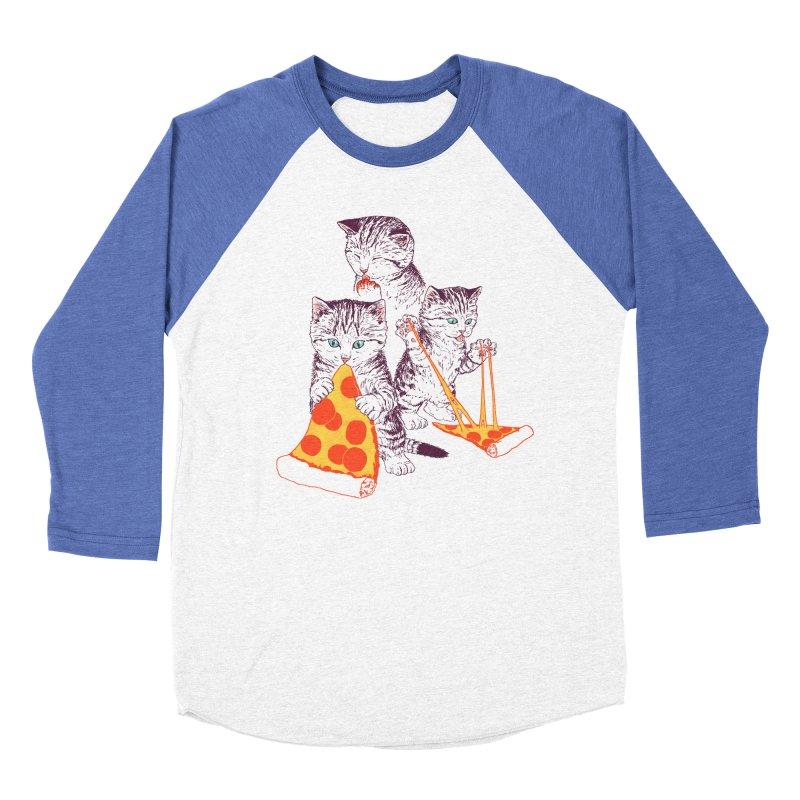 Pizza Kittens Men's Baseball Triblend Longsleeve T-Shirt by Hillary White
