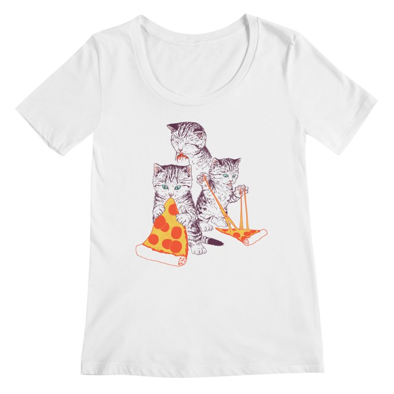 Pizza Kittens Women's Regular Scoop Neck by Hillary White