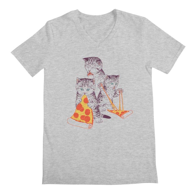 Pizza Kittens Men's Regular V-Neck by Hillary White