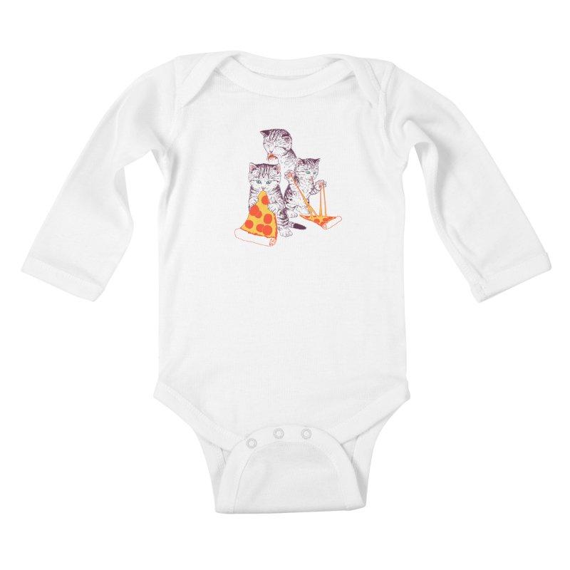 Pizza Kittens Kids Baby Longsleeve Bodysuit by Hillary White
