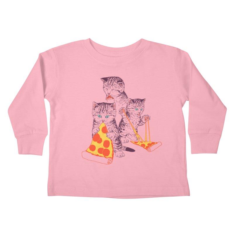 Pizza Kittens Kids Toddler Longsleeve T-Shirt by Hillary White