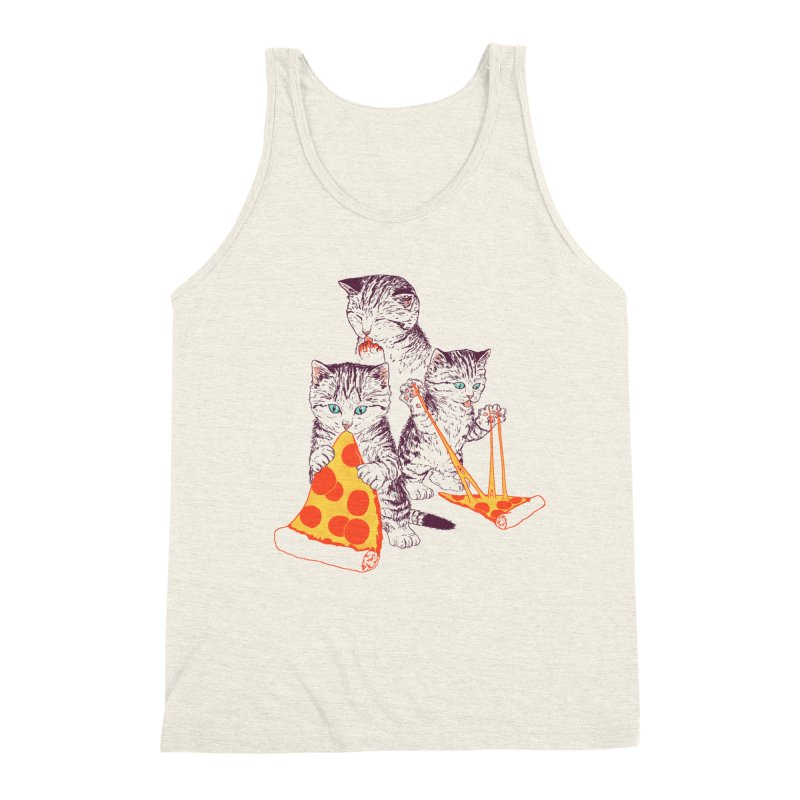 Pizza Kittens Men's Triblend Tank by Hillary White