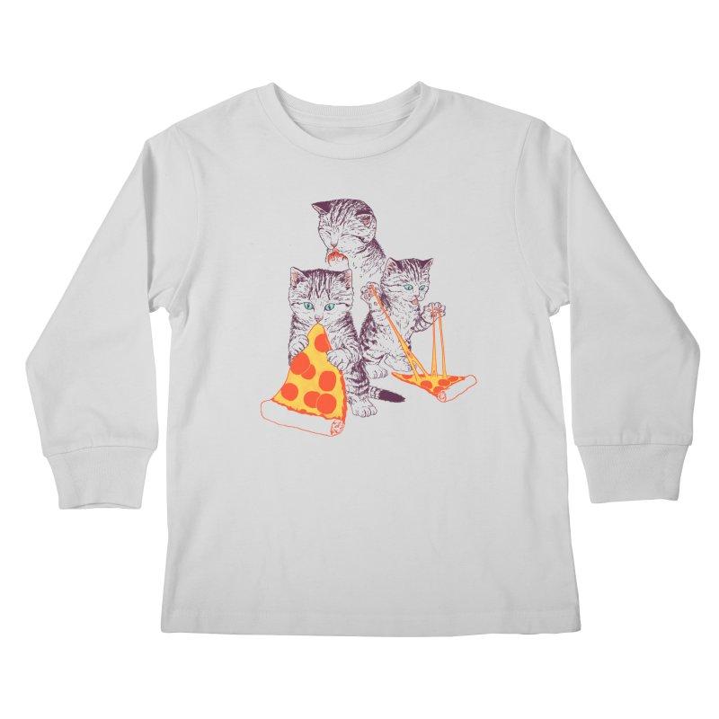 Pizza Kittens Kids Longsleeve T-Shirt by Hillary White