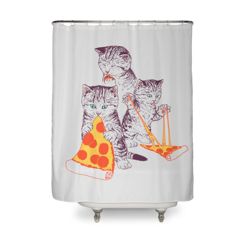 Pizza Kittens Home Shower Curtain by Hillary White