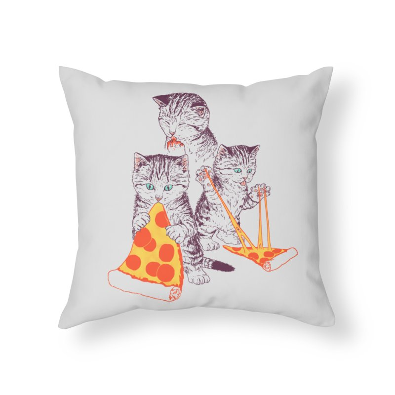 Pizza Kittens Home Throw Pillow by Hillary White