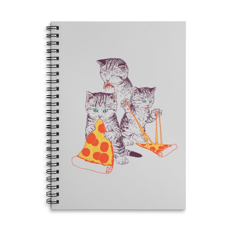 Pizza Kittens Accessories Lined Spiral Notebook by Hillary White