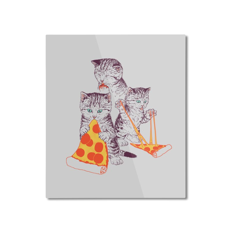 Pizza Kittens Home Mounted Aluminum Print by Hillary White