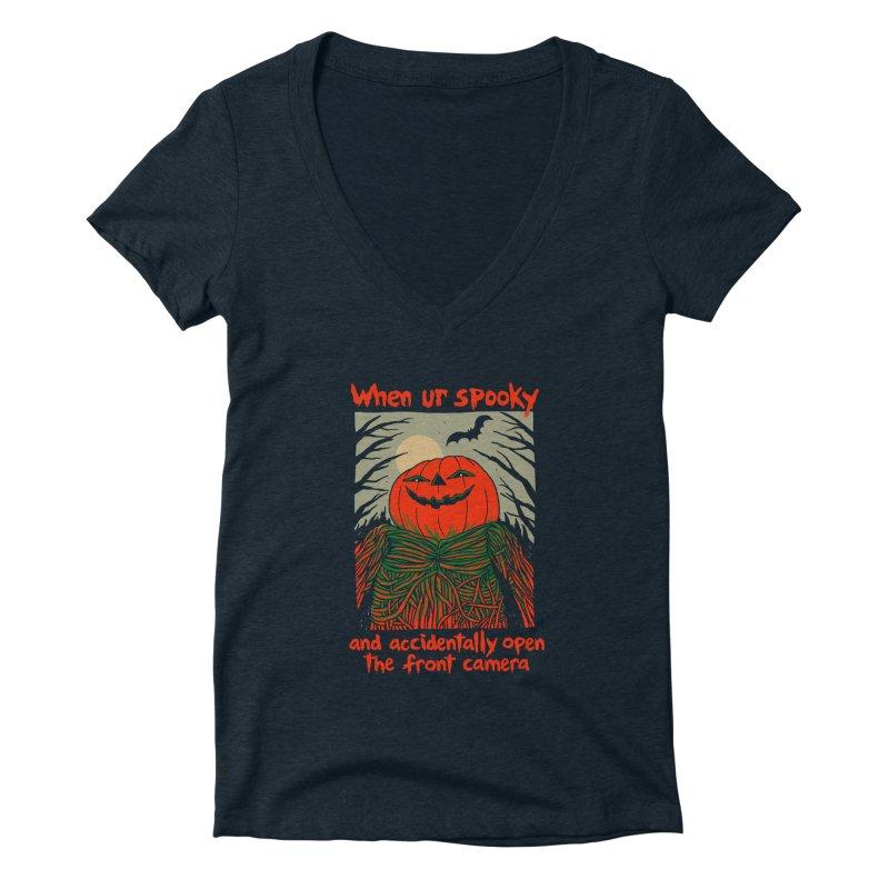 Spooky Selfie - dark shirt variant Women's Deep V-Neck V-Neck by Hillary White