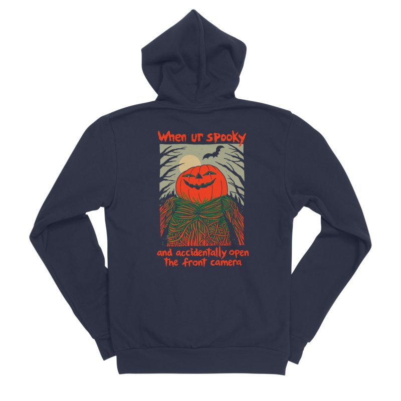 Spooky Selfie - dark shirt variant Women's Sponge Fleece Zip-Up Hoody by Hillary White