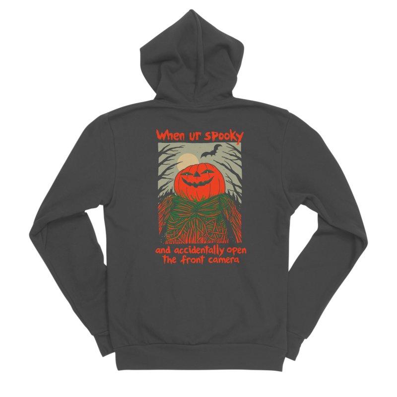 Spooky Selfie - dark shirt variant Men's Sponge Fleece Zip-Up Hoody by Hillary White