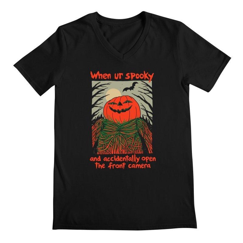 Spooky Selfie - dark shirt variant Men's Regular V-Neck by Hillary White