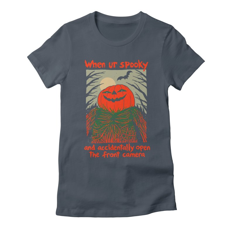 Spooky Selfie - dark shirt variant Women's Fitted T-Shirt by Hillary White
