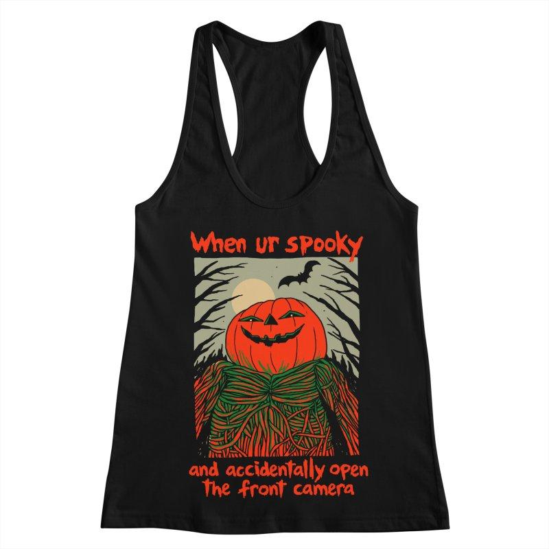 Spooky Selfie - dark shirt variant Women's Racerback Tank by Hillary White