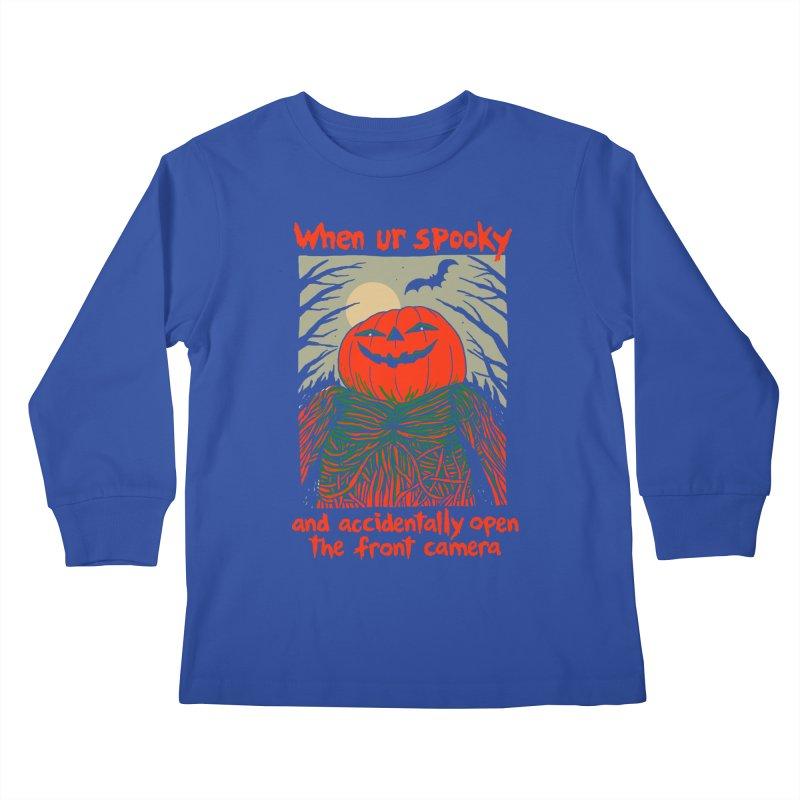 Spooky Selfie - dark shirt variant Kids Longsleeve T-Shirt by Hillary White