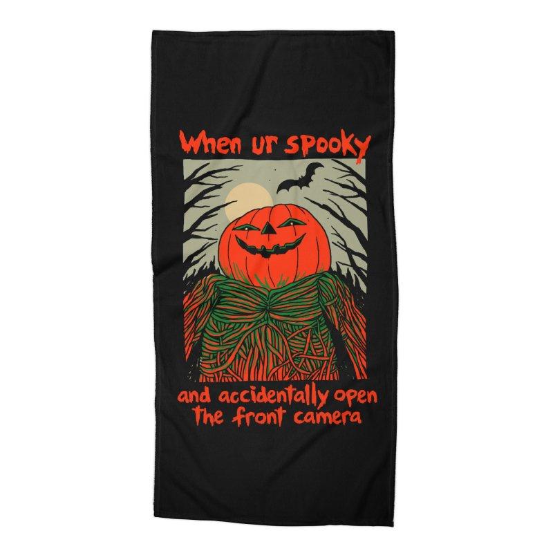 Spooky Selfie - dark shirt variant Accessories Beach Towel by Hillary White