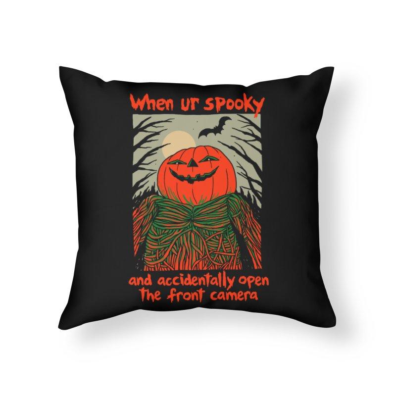 Spooky Selfie - dark shirt variant Home Throw Pillow by Hillary White