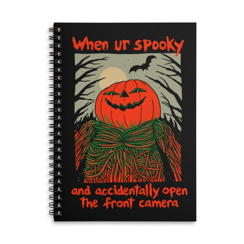 Spooky Selfie - dark shirt variant Accessories Lined Spiral Notebook by Hillary White
