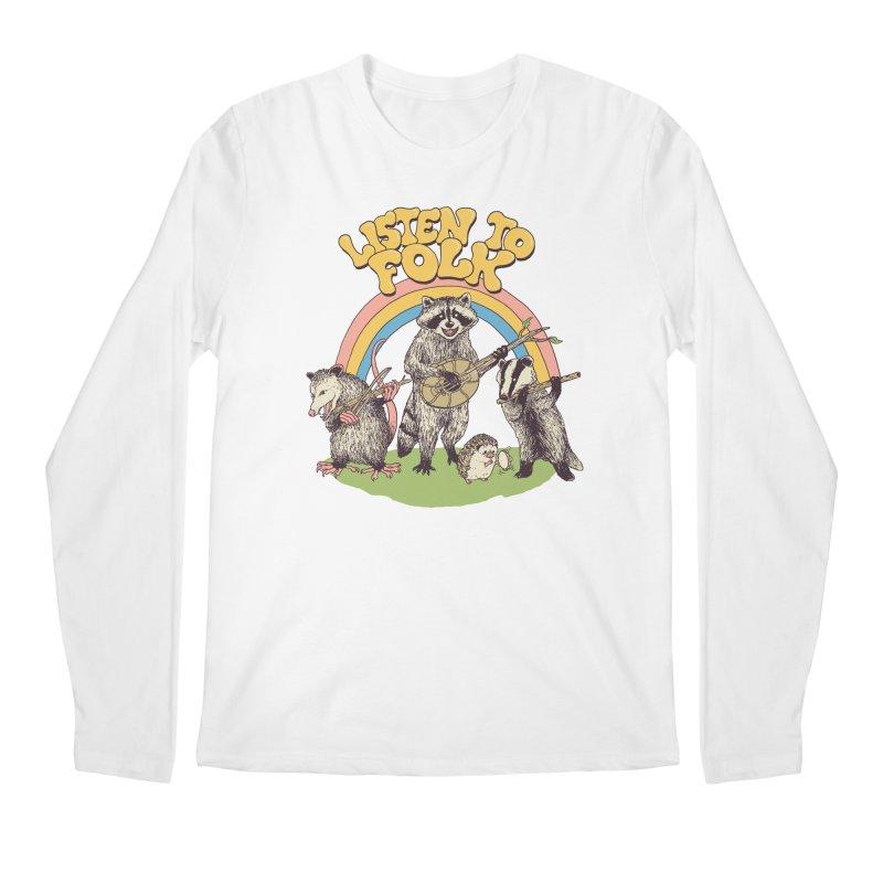 Listen To Folk Men's Regular Longsleeve T-Shirt by Hillary White