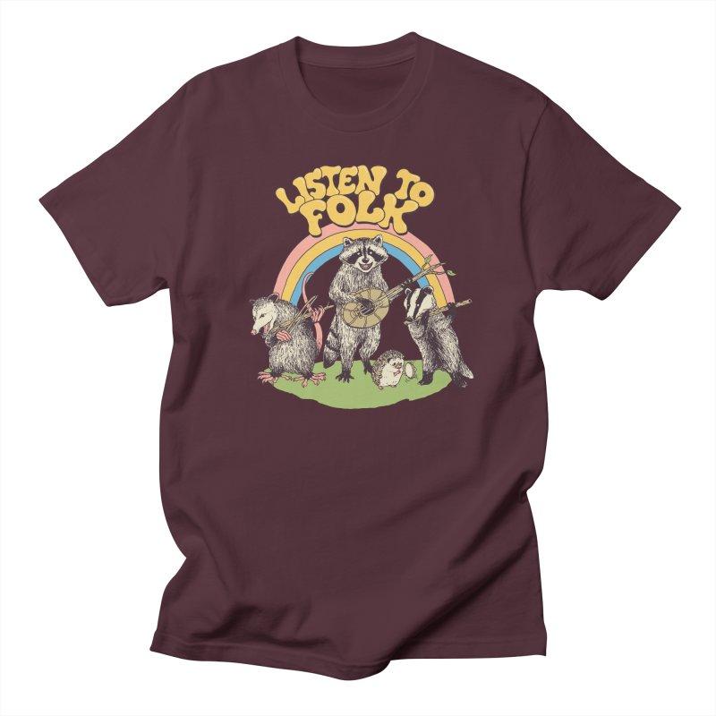 Listen To Folk Men's Regular T-Shirt by Hillary White