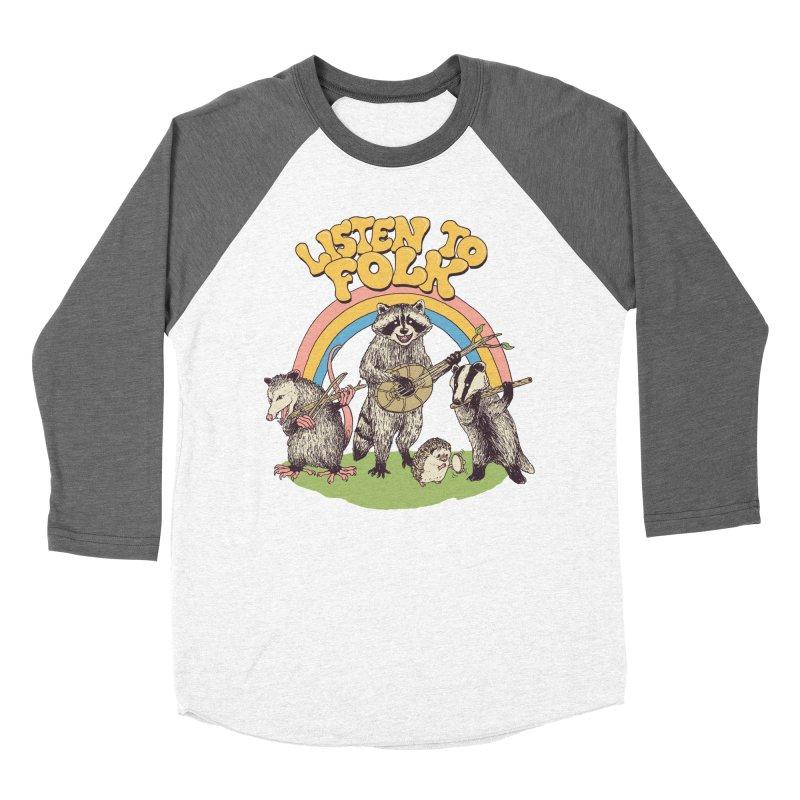 Listen To Folk Women's Baseball Triblend Longsleeve T-Shirt by Hillary White