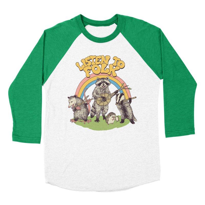 Listen To Folk Men's Baseball Triblend Longsleeve T-Shirt by Hillary White