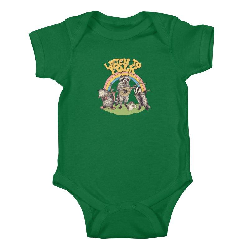 Listen To Folk Kids Baby Bodysuit by Hillary White