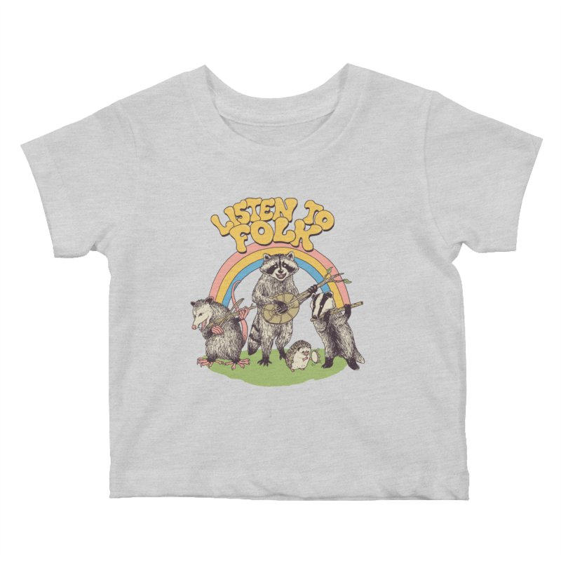Listen To Folk Kids Baby T-Shirt by Hillary White